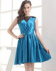 A-line Bateau Short Stretch Satin Beading Cocktail Dresses With Semi Transparent