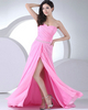 A-line One Shoulder Floor-length Chiffon Split Front Prom Dresses With Beading