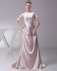 Gown Color Gray Over Hip Bateau Brush Train Stretch Satin Short Sleeve Evening Dresses With Beading