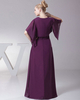 Column V-neck Floor-length Chiffon Half Sleeve Beading Evening Dresses With Jacket