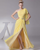 Column One Shoulder Floor-length Chiffon Short Sleeve Split Front Prom Dresses