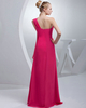 Column One Shoulder Floor-length Chiffon Side Split Prom Dresses With Beading
