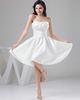 A-line Sweetheart Knee-length Satin Short Sleeve Crystal Prom Dresses With Jacket