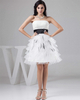 A-line Tube Top Short Organza Crystal Ruffle Cocktail Dresses