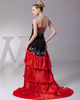 Over Hip Strapless Brush Train Stretch Satin High Low Beading Prom Dresses