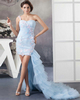 Column One Shoulder Brush Train High Low Tulle Sequin Prom Dresses