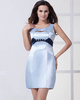 Column Scoop Mini Satin Crystal Cocktail Dresses