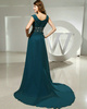 Phenomenal A-line Scoop Court Train Crystal Evening Dresses