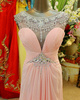 Column Jewelry Round Brought Sweep Train Chiffon Crystal Semi Transparent Top Pleats Prom Dresses