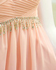 Column Bateau Jewelry Neck Sweep Train Chiffon Crystal Semi Transparent Top Prom Dresses