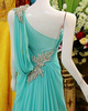 Column Jewelry One Shoulder Sweep Train Chiffon Crystal Semi Transparent Back Prom Dresses