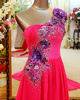 A-line One Shoulder Brush Train Chiffon Flower Prom Dresses