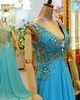 A-line V-neck Brush Train Chiffon Crystal Semi Transparent Back Prom Dresses