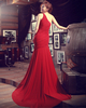 Mermaid One Shoulder Brush Train Chiffon Sequin Crystals Ruching Prom Dresses