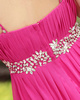 A-Line V-neck Spaghetti Straps Brush Train Chiffon Draped Crystals Prom Dresses