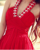 A-Line V-neck Halter Court Train Chiffon Beading Prom Dresses