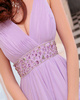 A-Line V-neck Brush Train Chiffon Beading Prom Dresses