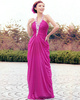 Sheath Rhinestones Halter Floor-length Ruching Chiffon Sequin Draped Prom Dresses