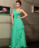 Sheath Straps Floor-length Chiffon Rhinestone Ruched Prom Dresses