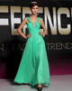 A-line Straps Floor-length Chiffon Crystal Prom Dresses