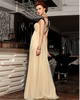 Column Round Brought Brush Train Chiffon Beading Semi Transparent Prom Dresses