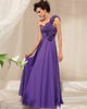 A-line One Shoulder Floor-length Chiffon Flower Prom Dresses