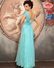 Column Scoop Floor-length Chiffon Rhinestone Prom Dresses