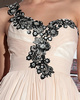 Column One Shoulder Floor-length Chiffon Appliques Prom Dresses