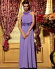 Column Flower Neckline Floor-length Chiffon Prom Dresses