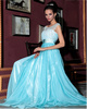A-line Bateau Floor-length Chiffon Sequin Semi Transparent Top Prom Dresses