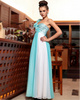 Column One Shoulder Floor-length Chiffon Flower Sequin Prom Dresses