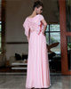 Column Round Brought Floor-length Chiffon Beading Evening Dresses With Lotus Leaf Sleeve