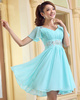 A-line V-neck Short Chiffon Rhinestone Homecoming Dresses