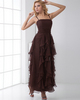 A-line Spaghetti Straps Ankle-length Chiffon Ruffle Prom Dresses