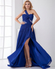 A-line One Shoulder Sweep Chiffon Split Front Crystal Evening Dresses