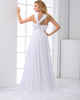 A-line Asymmetrical Collar Court Train Chiffon Flower Evening Dresses