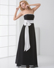 A-line Tube Top Strapless Floor-length Chiffon Sashes Evening Dresses