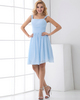 A-line Straps Short Chiffon Draped Tiered Homecoming Dresses