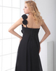 A-line One Shoulder Brush Train Chiffon Flower Tiered Prom Dresses
