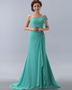 Over Hip One Shoulder Sweep Chiffon Jewelry Sleeve Prom Dresses With Crystal