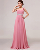 A-line One Shoulder Floor-length Chiffon Flower Sequin Prom Dresses
