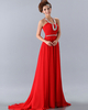 A-line Halter Brush Train Chiffon Beading Crystal Prom Dresses