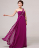 A-line One Shoulder Floor-length Chiffon Crystal Flower Prom Dresses