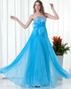 A-line Strapless Floor-length Chiffon Sequin Beading Prom Dresses