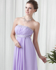 Column Strapless Brush Train Chiffon Backless Crystal Beading Prom Dresses