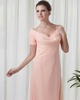 Column V-neck Floor-length Chiffon Short Sleeve Evening Dresses