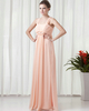 Column Straps Floor-length Chiffon Crystal Draped Evening Dresses