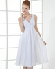A-line V-neck Knee-length Chiffon Beading Crystal Homecoming Dresses
