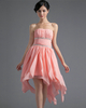 A-line Tube Top Strapless Chiffon High Low Prom Dresses With Crystal