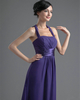 Column Halter Floor-length Chiffon Tiered Evening Dresses